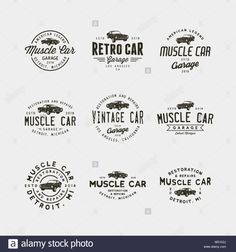 Find Set Vintage Muscle Car Garage Logos stock images in HD and millions of other royalty-free stock photos, illustrations and vectors in the Shutterstock collection. Thousands of new, high-quality pictures added every day. Garage Logo, Car Garage, Retro Cars, Vintage Cars, American Legend, Personal Logo, Muscle Cars, Design Elements, Logos Retro