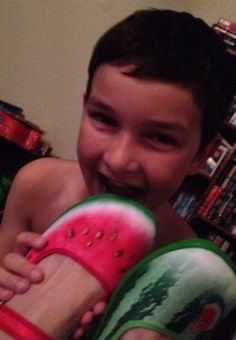 Watermelon/Patilla shoes, as enjoyed by my gorgeous 9 year old! :)