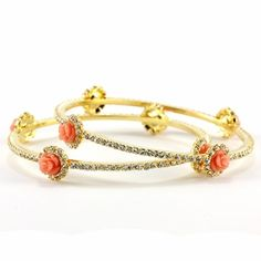 Floral Fantasy Bracelets #bangle #gold #orange #coral