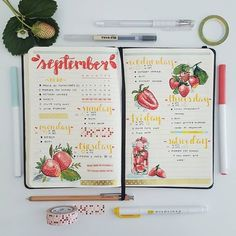 🍓🍓🍓 It was my first day back at school! Only seven more weeks now until I graduate 😣😣😣 I really love how this spread turned out, I especially like the strawberries and the colour scheme 😁 Have a nice week everyone! Bullet Journal 2019, Bullet Journal Notes, Bullet Journal Aesthetic, Bullet Journal Writing, Bullet Journal Spread, Bullet Journal Ideas Pages, Bullet Journal Layout, Bullet Journal Inspiration, Filofax Pocket