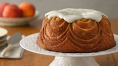 This peach bundt cake is bursting with flavor, thanks to fresh peaches and vanilla bean paste.