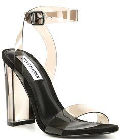 Steve Madden Camille Lucite Clear Block Heel Dress Sandals