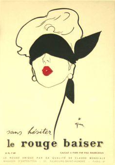 Affiche Le Rouge Baiser Sans Hésiter - France - 1949 - illustration de René Gruau -