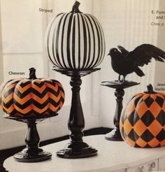 Painted pumpkins + decor idea - love these stands! Find cheap ones from goodwill/dollar store and spray paint?