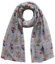 Lina & Lily Chihuahua Puppy Dog Print Women's Scarf Oversize (Light Grey)