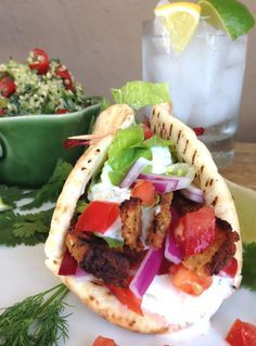 Vegan Gyro (with Homemade Seitan) & Tzatziki Sauce    For more healthy diet recipes go to www.hcgwarrior.com/recipes.html  #healthy recipes #hcg #diet