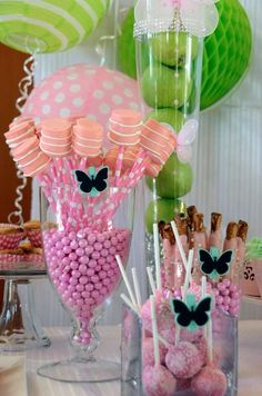 Springtime party candy!  See more party planning ideas at CatchMyParty.com!