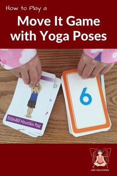 Move It Game: With the deck of yoga cards and number flash cards, we made up a Move It Game using yoga cards. Try this fun and easy yoga game to help your children get their wiggles out when youre stuck indoors! Kids Yoga Poses, Yoga Poses For Beginners, Yoga For Kids, Kid Yoga, Guided Mindfulness Meditation, Mindfulness For Kids, Preschool Yoga, Fun Activities For Kids, Health Activities
