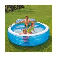 Intex Swim Centre Round Pool A Fantastic paddling pool for adults and children to enjoy. Includes a built in inflatable bench for the adults to sit back and relax while the kids paddle about.Includes 2 x drink holders in the walls of the pool suitable for a standard size beverage.Inflated size: 2.24m x 2.16m x 76cm inflated www.kidswoodentoyshop.co.uk