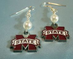 Mississippi State Bulldogs Earrings by gaylesjewelry on Etsy, $15.00