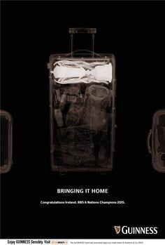 Guinness Rugby: Suitcase Bringing it home. Congratulations Ireland. RBS 6 Nations Champions 2015. Advertising Agency: Irish International, Dublin, Ireland Creative Director: Dave Buchanan Art Director: Clayton Homer Copywriter: Dillon Eillott Retouchers: Kevin Brooks, Dario Memarian Published: March 2015