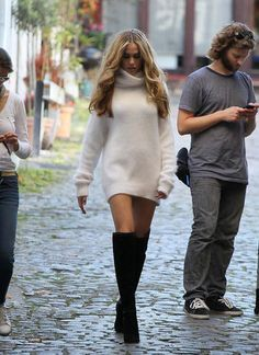 knee high boots and sweater dress. Love the style