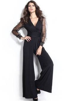 7fbee86e81e Black Embellished Cuffs Deep V-neck Long Mesh Sleeves Jumpsuit Jumpsuit  With Sleeves