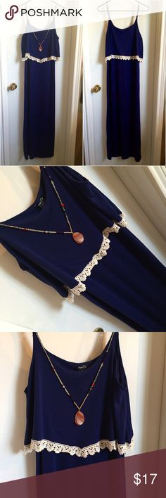 Navy crochet flounce top maxi dress Navy maxi dress, flounce top with crochet detailing. Super soft and comfy. Great condition! Dress up or down. OPEN TO OFFERS! DISCOUNTS ON BUNDLES! Not Francesca's closet listed for viewing purposes. Francesca's Collections Dresses Maxi