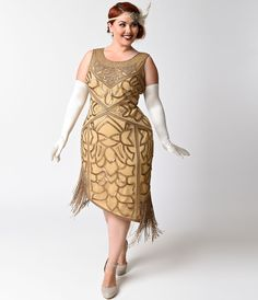 Unique Vintage Plus Size 1920s Style Antique Gold Sequin Gilda Flapper  Size 4XL $248.00 AT Vintagedancer.com