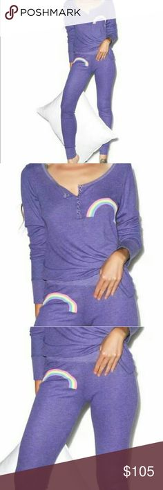 NWT Wildfox Rainbow Ski bunny pajamas! 2-Piece Wildfox Couture Ski Bunny Rainbow Set Wildfox thermal rainbow pajama set w/ henley top matching rainbow design leggings. Extremely rare set in an even more rare color!! Color is a bluish purple. I've only seen the one set in this shade (which I purchased). I removed the tags but it has never been worn or washed, only tried on. Selling bc It's too small for me. Keep in mind this set runs on the SMALL side compared to other Wildfox pj's. (I.e. I'm…