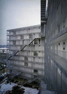 Just a Selection. - Kazuyo Sejima - Gifu Kitagata apartment building,... sanaa trap trappen gaanderij appartementen gevel