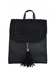 Γυναικείο τετράγωνο σακίδιο πλάτης μαύρο δερματίνη DF1015   γυναικείεςτσάντες  σακίδια  μόδα  τσάντα   39d9b33748c