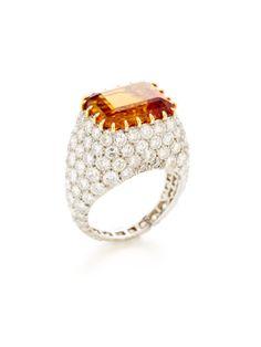 Tiffany & Co. Orange Topaz & Diamond Ring
