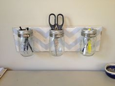 Mason Jar pencil holder organizer in blue and by kitnkaboodlehome, $34.00