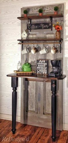 25 Diy Recycled Door And Window Projects - Top Do It Yourself Projects Refurbished Furniture, Bar Furniture, Furniture Makeover, Coffee Bars In Kitchen, Coffee Bar Home, Porta Diy, Old Door Projects, Recycled Door, Old Wood Doors