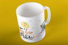 """Taza QR cardMagic. """"La que has liao Pollito"""" Puedes subir al QR un vídeo o fotos. Mugs, Tableware, Chicken, Pictures, Dinnerware, Tumblers, Tablewares, Mug, Dishes"""