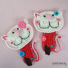 Crochet kitty appliqué pattern DIY by VendulkaM on Etsy. $3.80 for pattern, 10/15