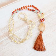 Manifest Your Intentions with this 108 Mala Bead Necklace featuring Citrine, Carnelian, and Aventurine from Seed Of Intention. Mala Beads,Mala,Mala Necklace