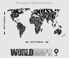 11 Best World Map Typography Images Worldmap World Maps Stickers