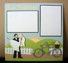 Just Married Wedding 12 x 12 PreMade Scrapbook Page by ScrappyFeet, $13.00