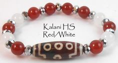 "Jan O Designs - Old DZI Stone Bead Bracelet - 7"" 8 Eyed DZI w/Jade, Carnelian - Kalani High School Red/White, $50.00 (http://www.janodesigns.com/old-dzi-stone-bead-bracelet-7-8-eyed-dzi-w-jade-carnelian-kalani-high-school-red-white/)"