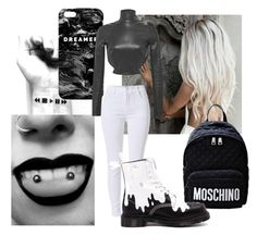 """""""Black And White!"""" by isabeldizova ❤ liked on Polyvore featuring Moschino, Dr. Martens, Mr. Gugu & Miss Go, Thierry Mugler, white, black and blackandwhite"""