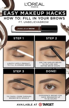 L'Oréal Paris Easy Makeup Hacks: How To Fill Your Brows ft. Natural Brows, Natural Makeup, Makeup Tips, Eye Makeup, Makeup Hacks, Oil Based Cleanser, Eyebrow Grooming, Party Eyes, Make Up