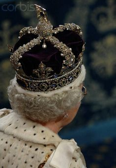 Back view of diamonds and jewels as Queen Elizabeth II wears the Imperial State Crown at the House of Lords for the State Opening of Parliament in Love this picture for Queen Elizabeth II. British Crown Jewels, Royal Crown Jewels, Royal Crowns, Royal Tiaras, Royal Jewelry, Tiaras And Crowns, Jewellery, Imperial State Crown, Elisabeth Ii