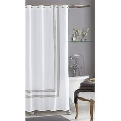 Create the look and feel of a hotel-worthy bathroom with this cotton sateen shower curtain from Wamsutta®. Featuring a clean design, this hotel shower curtain looks chic with a variety of bathroom furniture styles and accessories.