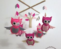 Popular items for pink owl mobile on Etsy