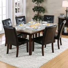 Benzara Marstone Contemporary Style Marble Top Dining Table, Brown Cherry