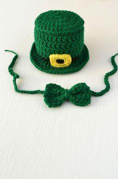 2d111df85bfd5 Crochet St. Patrick s Day Set Leprechaun Hat Bow Tie Handmade Newborn Photo  Outfit Photography Prop