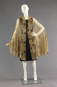 Evening shawl | French | 1925 | silk, metal | Brooklyn Museum Costume Collection at The Metropolitan Museum of Art | Accession #: 2009.300.2539
