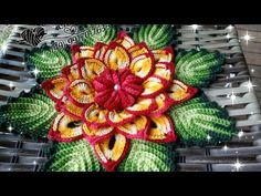 Crochet Puff Flower, Crochet Flower Tutorial, Crochet Leaves, Crochet Doilies, Crochet Flowers, Diy Crafts Crochet, Diy Crochet And Knitting, Crochet Videos, Crochet Home
