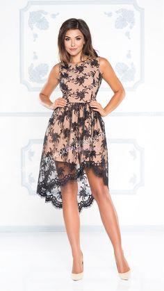 560dfbb267 Sukienkowo.com - CLARA - asumetryczna sukienka z koronki beżowo czarna