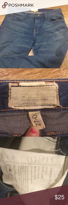 Current/Elliot jeans Size 27 Normal pilling on inside pockets. inside large tag threads coming loose (as pictured.) A little wrinkly throughout (just needs some ironing.) color fading on inside tag labels (as pictured.) No stains or tears. All visible flaws mentioned. Current/Elliott Jeans Skinny