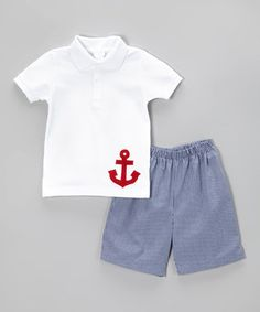 Look what I found on #zulily! Betti Terrell White Anchor Polo & Blue Shorts - Toddler & Boys by Betti Terrell #zulilyfinds
