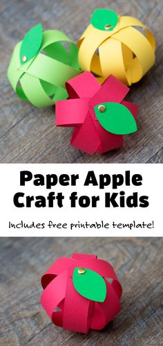 This paper apple craft for kids includes a free printable template! Such a fun fall decoration! #paperapplecraft #applecraft #fallcraft #kids Creative Activities For Kids, Toddler Learning Activities, Autumn Activities, Craft Activities, Preschool Crafts, Leaf Crafts Kids, Fall Crafts For Kids, Toddler Crafts, Easy Arts And Crafts