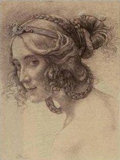 Portrait de Mme Berthelot - pencil drawing, by Armand Point.  She has a coy look ~ not quite flirtatious ~ but like she has a secret