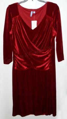 Elementz NEW B-Slim Red Velvet Cross Front Dress LARGE Knee Length Holiday Party  #VELVET #SALE #RED #HOT #SALE