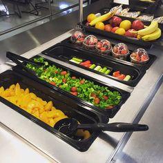 How great do these fruits and veggies look that were at Lovejoy High School - Lovejoy ISD (TX)? Yum! #fruitsandveggies #healthyschoolmeals