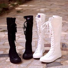Womens Canvas Lace Up Causal Fashion Hot Flat Knee High Sneakers Shoes Boots Knee High Sneakers, Knee High Boots, Long Boots, Mid Calf Boots, Cute Shoes, Me Too Shoes, Pretty Shoes, All Might Cosplay, Kawaii Shoes