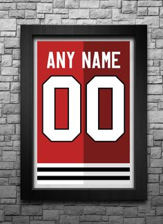 CHICAGO BLACKHAWKS custom jersey art print. Any name and number! Choose from 3 sizes! by BreakawaySports on Etsy https://www.etsy.com/listing/475221001/chicago-blackhawks-custom-jersey-art