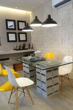 For several years, brick blocks are used for outer decoration. But with this creative ideas, you can make awesome DIY decorations with brick blocks. Recycled Furniture, Diy Furniture, Cinder Block Furniture, Diy Home Decor, Room Decor, Cool Office Space, Bookshelf Design, Brick Block, Home Projects